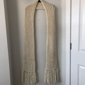 Long chunky knit cream winter scarf w gold flecks